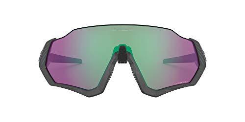 Oakley Men's OO9401 Flight Jacket Shield Sunglasses, Matte Steel/Prizm Road Jade, 37 mm