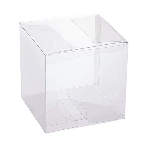 BENECREAT 30 Pack Caja Plegable Cajita Plástica Envase Transparente de Regalo Contenedor de Dulce Chocolate para Boda Fiesta Cumpleaños 9x9x9cm