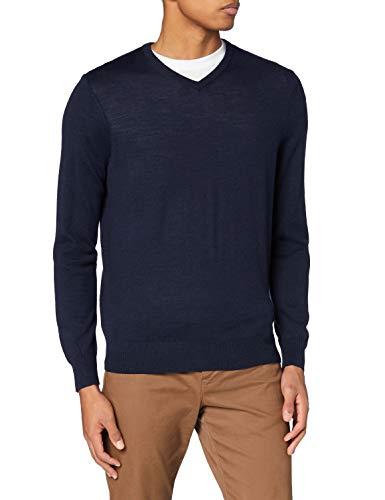 Marchio Amazon - MERAKI Pullover Lana Merino Uomo Scollo a V, Blu (Navy), XXL, Label: XXL