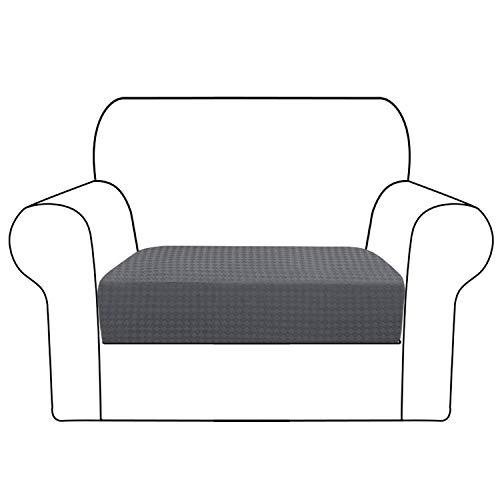 Stretch Cushion Cover Jacquard Weave Sofa Cushion Furniture Protector for Sofa Cushion Anti-Slip with Elastic Bottom (Chair Cushion, Gray)