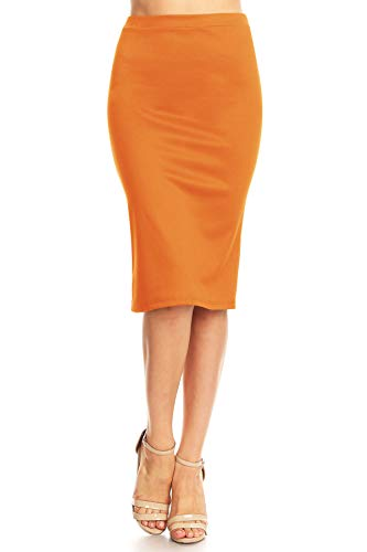 Solid High Waist Band Bodycon Office Work Midi Stretchy Pencil Skirt/Made in USA Orange S