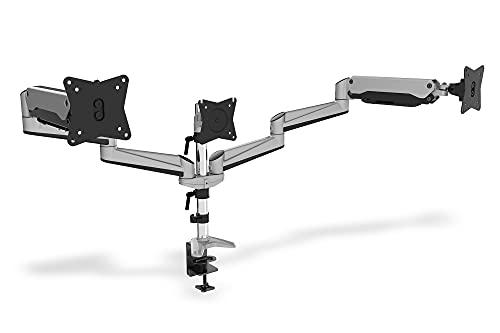 DIGITUS Monitor-Halterung - Klemme & Gasdruckfeder - 3 Monitore - Bis 27 Zoll - Bis 3x 6 kg - VESA 75 & 100 - Silber