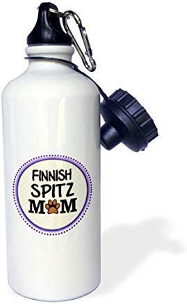 'Finnish Spitz Dog Mom-Doggie Mama by breed paw print mom love doggy lover-orgulloso Pet propietario circle' Botella de agua de aluminio blanco divertido novedoso novedoso botella de agua con pajita para gimnasio camping regalos