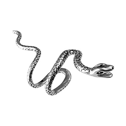 goodluccoy Beauty Retro Vintage Black Silver Copper Punk Temptation Metal Snake Bite Ear Cuff Clip Wrap Earring para niñas Niños Pendientes de Clip no Perforados para Mujeres