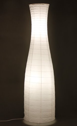 Trango 1231L Design LED Reispapier Stehlampe *SWEDEN* Reispapierlampe *HANDMADE* Stehleuchte mit weißem Lampenschirm inkl. 2x E14 LED Leuchtmittel, Form: Rund, Höhe: 125cm, Wohnraumlampe, Standlampe