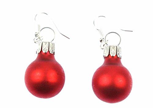 Navidad bolas pendientes Miniblings las chucherías de la Navidad rojo mate
