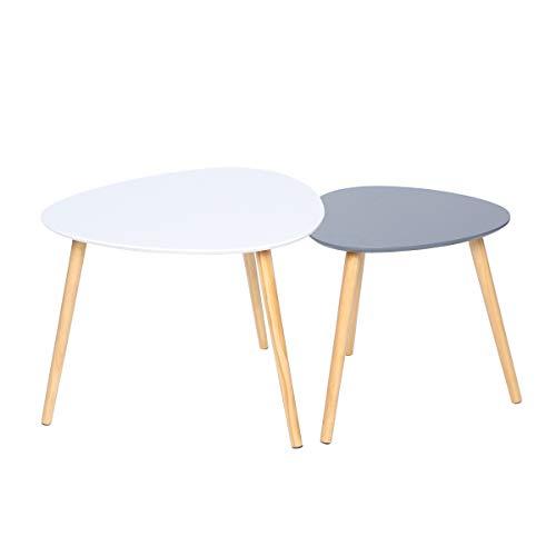Happy Home WEI&GRA - Juego de 2 mesas de centro anidadas con patas de madera, para salón, balcón y oficina, color blanco y gris