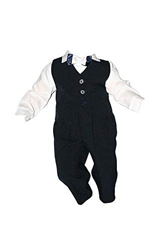 Taufanzug Baby Junge Kinder Kind Taufe Anzug Hochzeit Anzüge Festanzug, 4tlg, Marineblau-Weiß, Gr.74