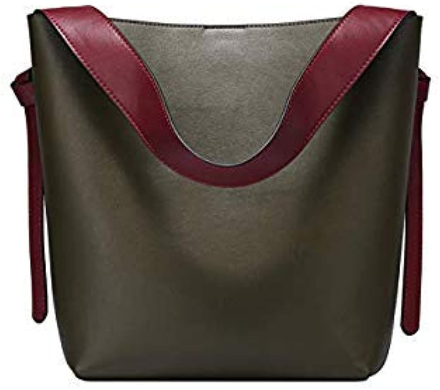 Bloomerang Nesitu New High Quality Designer Luxury Grey Green Red Split Leather Women Shoulder Bags Shopping Bag Handbags Totes  M0754 color 4
