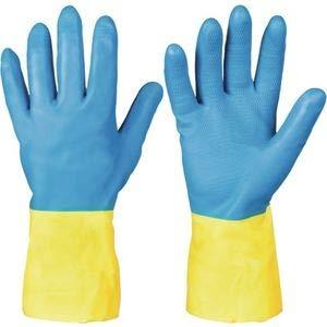 Beschermende handschoen tegen chemicaliën Kenora EN388 EN374 cat. 3 maat 7 l 32 cm S.0,7 mm bl./geel