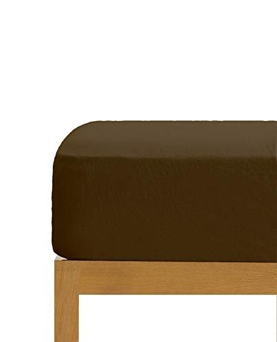 Sábana Bajera Ajustable Chocolate 100% algodón Cama de 150 cm (150x190/200 cm)