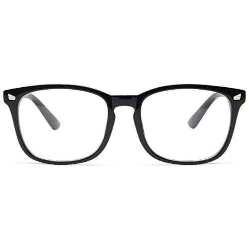 Livhò Occhiali Luce Blu Uomo Donna, Anti UV Filtro Moniter Occhiali da Vista Lenti per Computer Schermo PC - LI8082 (Nero chiaro)