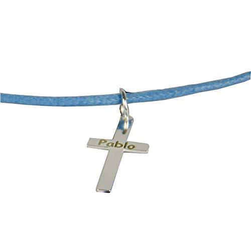 Regalo Personalizado para un niño o niña en su Primera Comunión: Colgante de Plata en Forma de Cruz Grabado con el Texto Que tú Quieras + cordón Azul