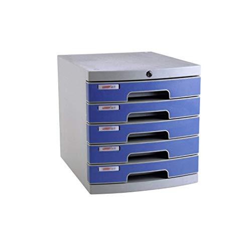 LHQ-HQ Desktop-Fach Sorter 5-Schicht mit Verschluss aus Kunststoff Schubladeninformationsbüro A4 Lagerung Blau 30 * 38 * 31,5 cm (Größe: 6-Schicht) Zeitungsständer