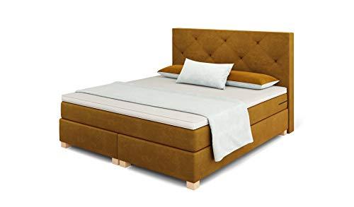 Betten Jumbo Prince Boxspringbett 180x200 cm 7-Zonen TFK Härtegrad H4 und Visco-Topper | Farbe Coffee-Braun | div. Größen verfügbar