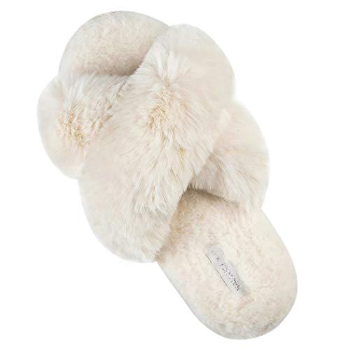 HALLUCI Pantoufles en polaire douce pour femme, X-Large