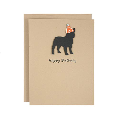 French Bulldog Birthday Card | Handmade Black Frenchie Birthday Greeting Card | Party Hat | Pet Birthday