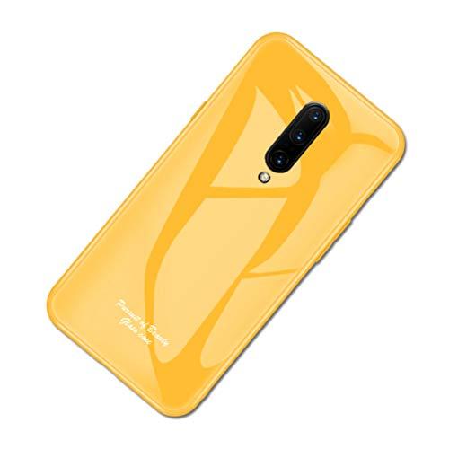 SHUNDA Capa para OnePlus 7 Pro, capa traseira de vidro temperado antiarranhões, capa protetora de TPU flexível para OnePlus 7 Pro - amarela