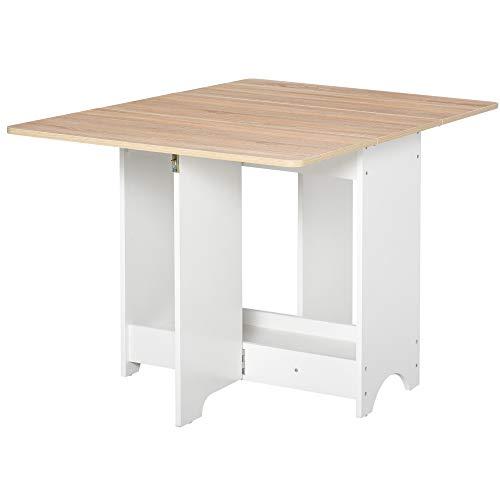 homcom Tavolo Consolle a Ribalta con Vano Mensola, Tavolino da Salotto e Cucina Pieghevole Salvaspazio, Color Legno e Bianco, 118x80x72cm
