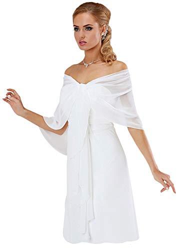 BrautChic Chiffon Stola Chiffonschal perfekt zu jedem Brautkleid - Abendkleid, Hochzeit Abend Gala Empfang - RUTSCHT NICHT - WEIß - ca. 245cm lang