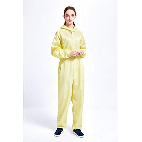 Indumenti Di Protezione Pezzo Cappuccio Anti-statica Abbigliamento, Vestiti Puliti Clean Tuta Polvere Negozio Di Abbigliamento (Color : Yellow, Size : 4XL)