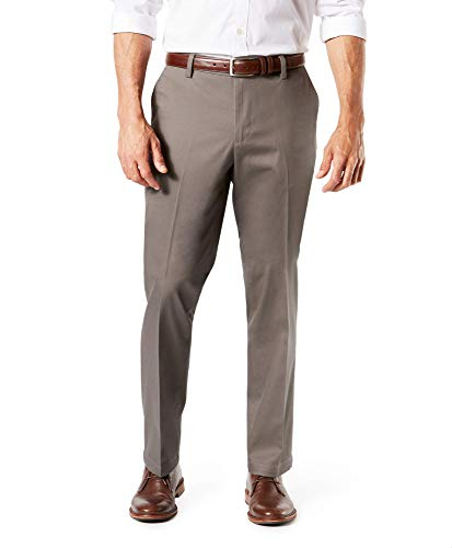 Dockers Men's Straight Fit Signature Lux Cotton Stretch Khaki Pant, Dark Pebble-Creased, 36W x 30L
