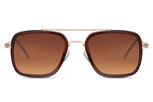 Cheapass Sonnenbrille Pilot Viereckig Rennsport Schattierungen Gold Metall Braun Innenrahmen und braune Gläser UV400 geschützt Herren