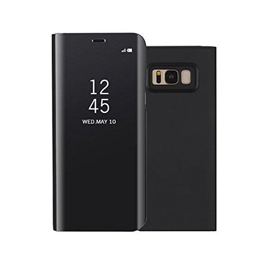 Galaxy S8 Plus Case,Shinetop Smart Clear View Window Electroplate Plating Stand PC Mirror Flip Folio Case Cover Ultra Slim Full Body Protective Case for Samsung Galaxy S8 Plus with Kickstand-Black
