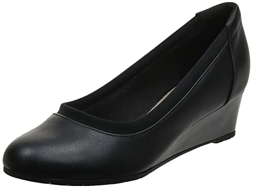 Clarks womens Mallory Berry Platform, Black Leather, 7.5 Wide US