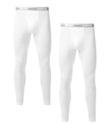 LAPASA Men's Lightweight Thermal Underwear Pants Fleece Lined Long Johns Leggings Base Layer Bottoms 2 Pack M10 (Large, White)