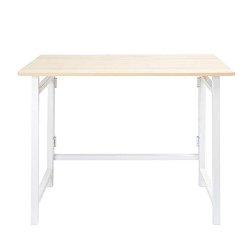 BIAOYU Escritorio plegable para ordenador, sin montaje, mesa de trabajo, portátil, portátil, estudio, escritorio, para oficina en casa, color blanco
