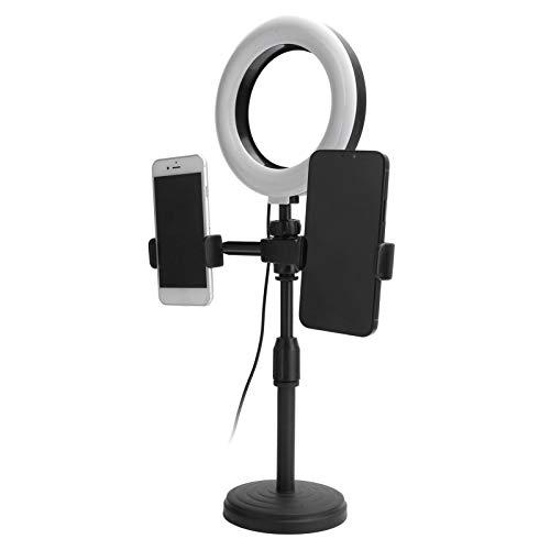 Anillo de luz para Selfie con 2 Soportes para teléfono Celular, Mini Anillo de luz LED para cámara para transmisión en Vivo, Maquillaje, fotografía, Anillo de luz para Selfie de 6'