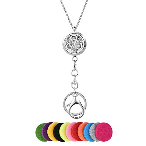 LuxglitterLin Women Office Lanyard ID Badges Holder Necklace Celtic Knot Aromatherapy Essential Oils Diffuser Breakaway Pendant Jewelry for OL Nurse