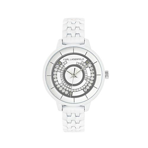 KARL LAGERFELD Women\'s White Concentric Crystal Bracelet Damenuhr, 33mm, Quarz - 5552757