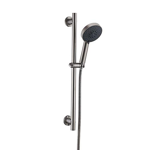 KES Slide Bar with Handheld Shower Head Hand Shower Hose Adjustable Holder 5-Function Brushed Finish, F205-BS+KP501B-BN