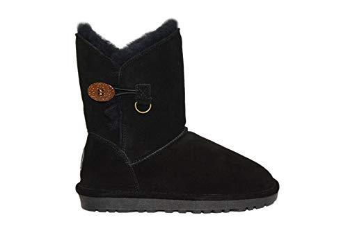 Reissner Lammfelle Lammfell Winterstiefel Lara Halbstiefel Schlupfstiefel Boots (Halbschaft) schwarz, Größe 45