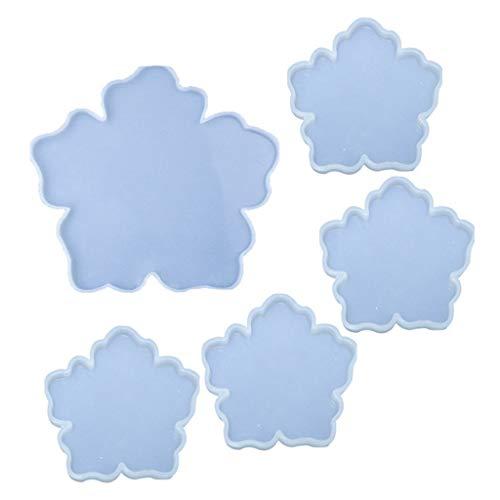 JIABAN Juego de 5 posavasos de resina, molde de resina epoxi irregular, utilizado para decoración de bar, cocina, hogar