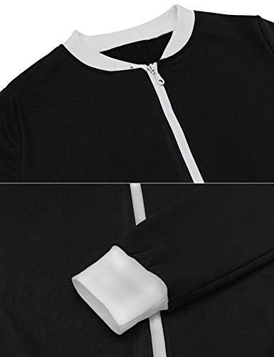 Schlafoverall Jumpsuit Damen Overall Pyjama Onesie Einteiler Lang Strampler Kuschelig Schlafanzug Nachtwäsche Langarmshirt Playsuit mit Reißverschluss - 6