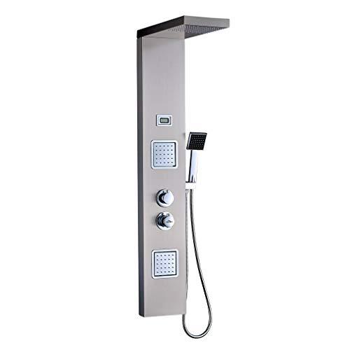 Auralum 3 Función Columna Ducha Hidromasaje Termostatica con Pantalla LCD y 2 Boquillas de Masaje