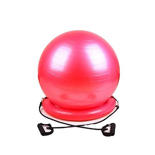 SB Home Pelota de gimnasia, yoga, gruesa, antipinchazos, pelota de fitness, con cuenco y bandas de resistencia, mango incluido, bomba rápida, para oficina, casa, 65 cm, color rojo