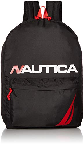 Nautica Men's Horizontal Zip Polyester Backpack With Padded Laptop Sleeve, black, One Size