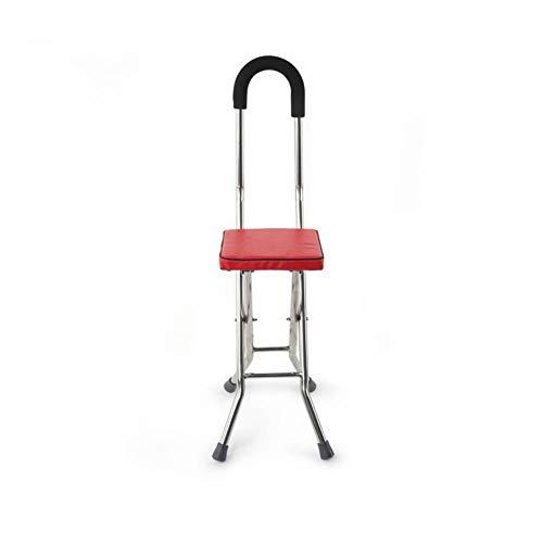 Béquilles avec Siège, Canne avec Siège Bâton De Marche Tabouret Pliable Canne Portative Chaise Canne Béquilles pour Les Personnes âgées,Red