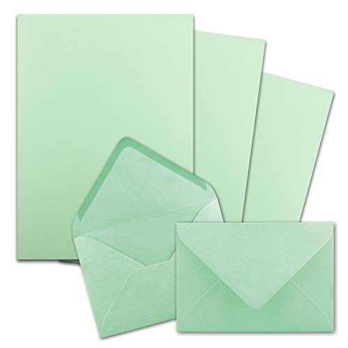 25x Briefpapier-Sets DIN A4 mit C6 Briefumschlägen, Nassklebung - Mint-Grün - mattes Schreibpapier mit Kuverts - FarbenFroh by GUSTAV NEUSER