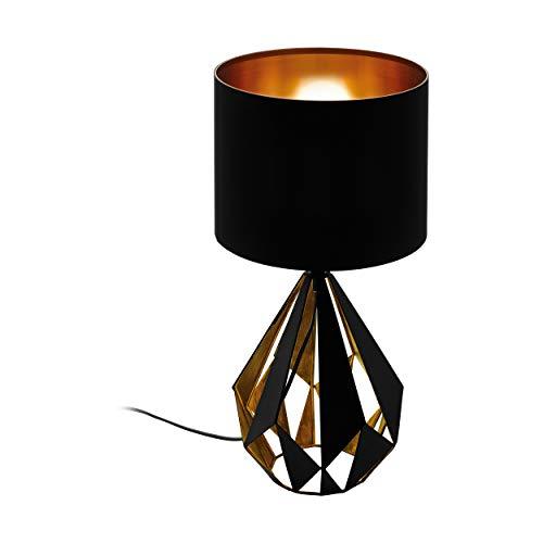 EGLO Tischlampe Carlton 5, 1 flammige Vintage Tischleuchte, Nachttischleuchte aus Stahl und Stoff, kupfer, Fassung: E27, inkl. Schalter, schwarz