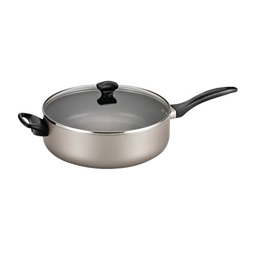 Farberware 21909 Dishwasher Safe Nonstick Jumbo Cooker/Saute Pan with Helper Handle - 6 Quart, Silver
