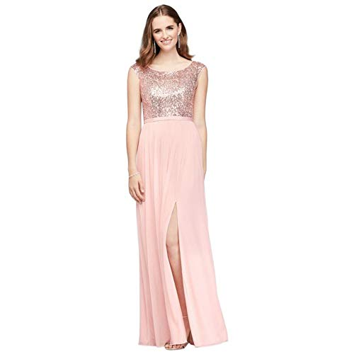David's Bridal Sleeveless Sequin and Mesh Bridesmaid Dress Style F19328S, Rose Gold, 0