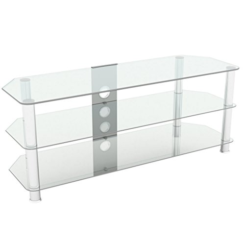 """King Glass TV Stand for HD LED LCD 4K 8K QLED TVs up to 60"""" inch by TV Furniture Direct (125cm, Clear Glass, Chrome Leg)"""