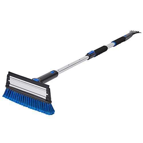 SUPERJARE 57' Telescoping Snow Brush with Integrated Ice Scraper & Squeegee Head, Extendable Snow Broom with Foam Grip Suitable for Small Car, Blue & Black