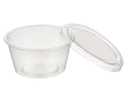 1-PACK Dressingbecher Saucenbecher 100ml, transparent mit Deckel, aus PP, 50 Stück
