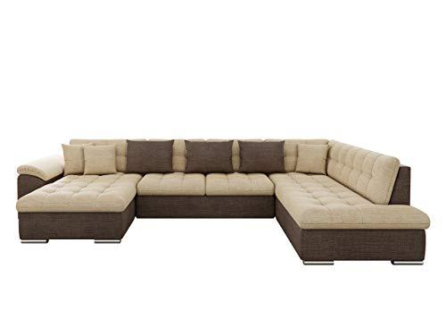 Eckcouch Ecksofa Niko! Design Sofa Couch! mit Schlaffunktion! U-Sofa Große Farbauswahl! Wohnlandschaft! (Ecksofa Links, Cairo 35 + Cairo 22)